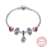 Ann Snow 925 Sterling Silver European Murano Red Flower Muilticolor Glass Beads With Crystal Rose Charms