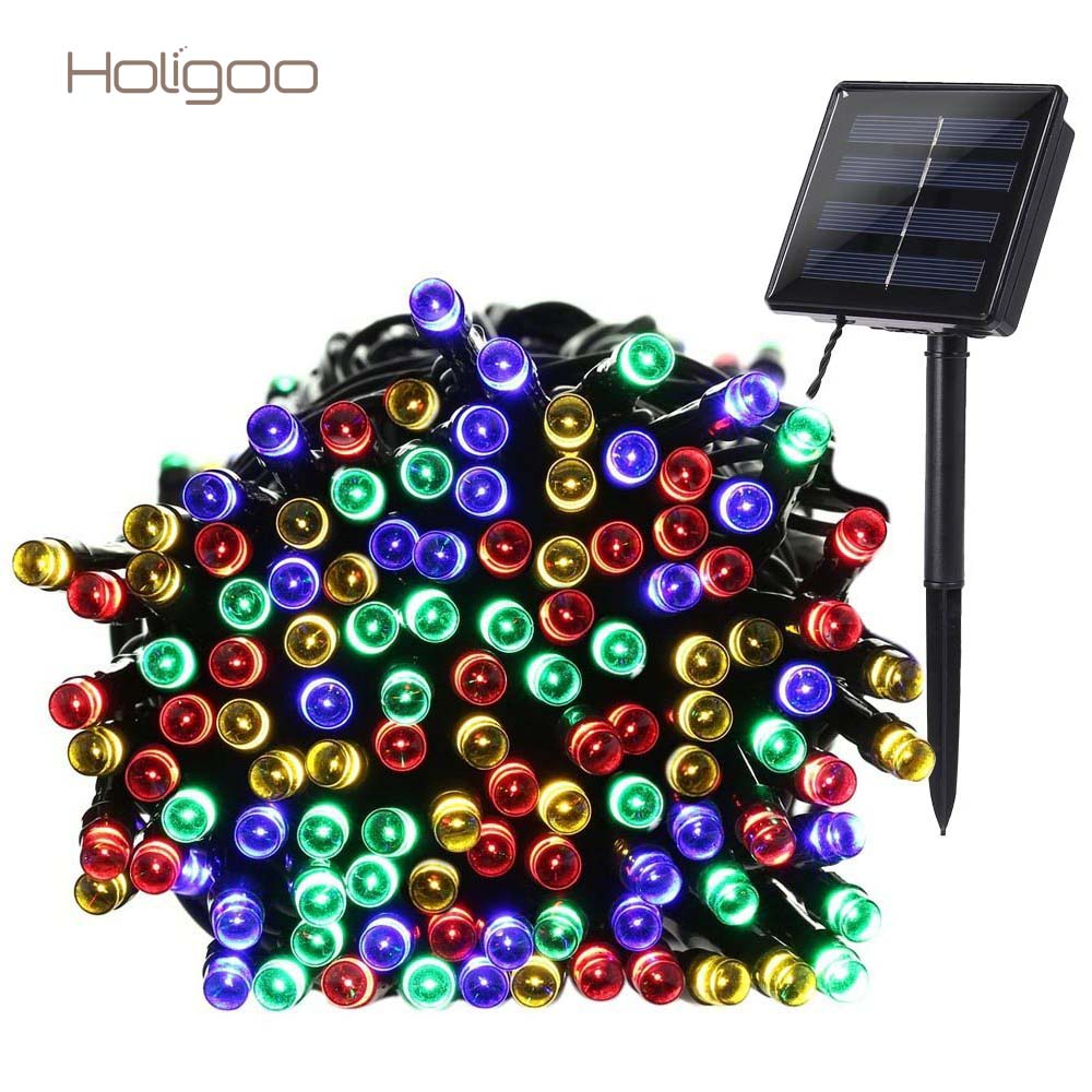 Holigoo Outdoor Lighting 22m 200 LED Solar String Lights Fairy Garland Light String Christmas Party Garden Wedding Decoration solar string lights 50 led blossom flower fairy light christmas lights for outdoor led garland patio party wedding decoration