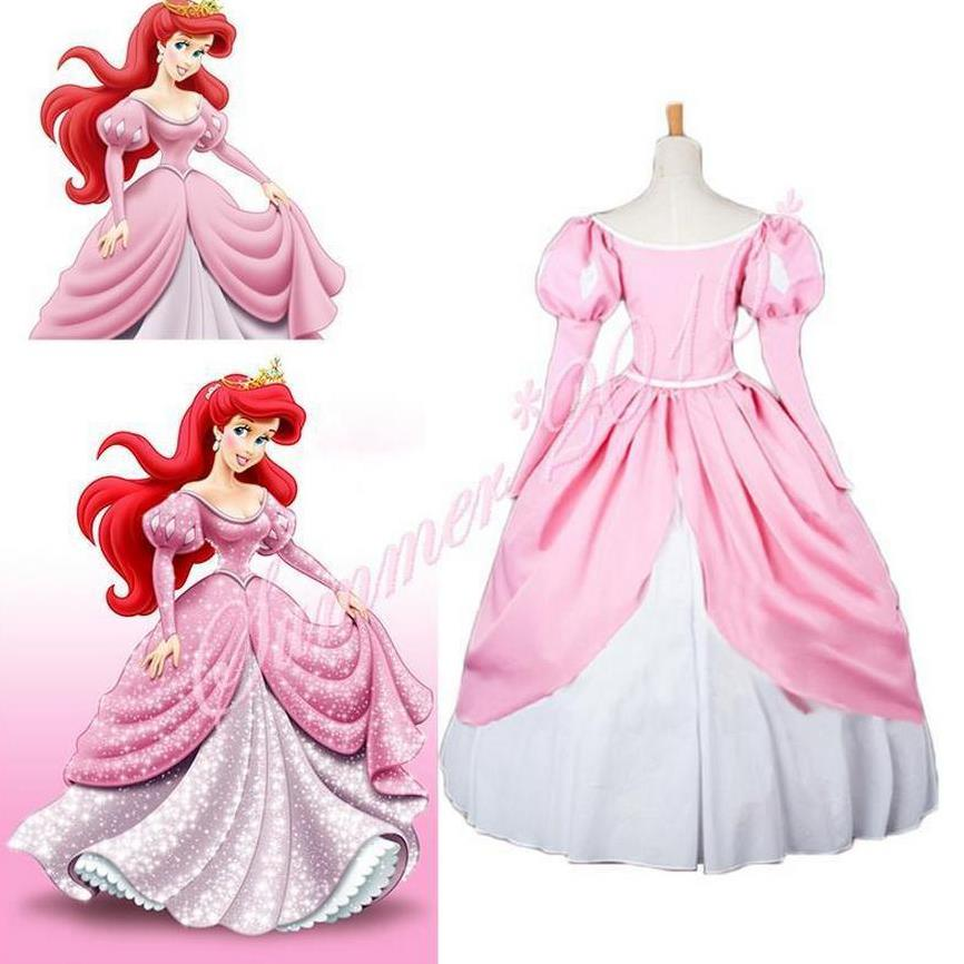 The Little Mermaid Princess Ariel Pink Fluffy Party Fancy Dress Cosplay Costume ariel pink