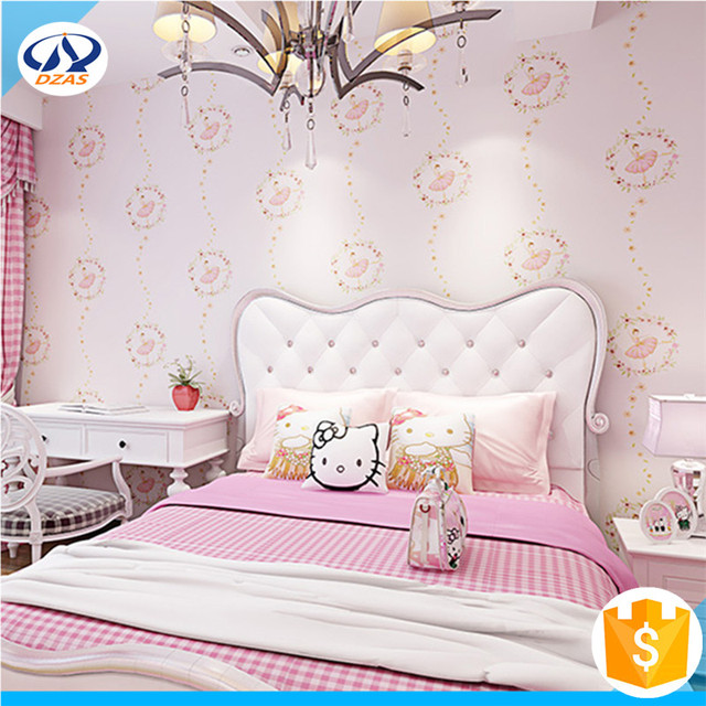 Green Non Woven Wallpaper Girls Pink Cute Cartoon Princess Room DZAS WH