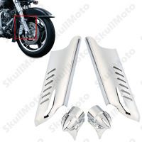Motorcycle Chrome Fork Lower Leg Deflectors Shields Cover For Harley Electra Glides Road Glides Road Kings Street Glid 2000 2013