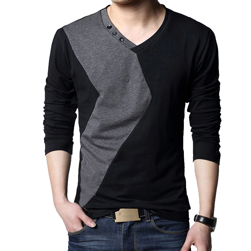Moda 2020 streetwear manga longa com decote em v cor retalhos de algodão t camisa masculina