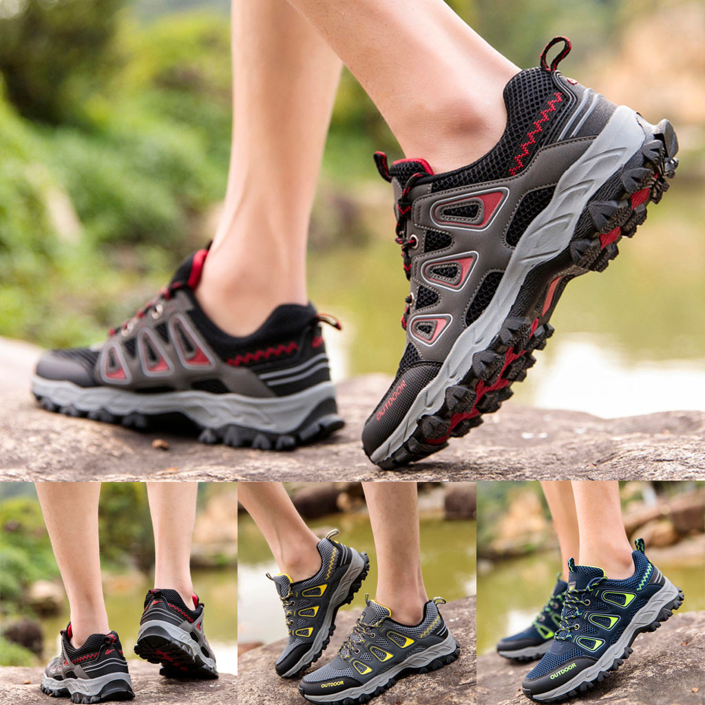 Fashion Men's Mesh Breathable Non-Slip Outdoor Wear Hiking Shoes Sneakers