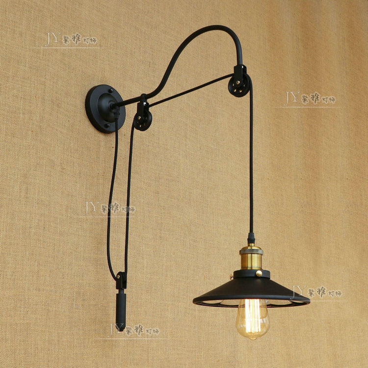 Loft Vintage industry aisle stairs bedroom living room bedside lamp iron pulley lifting light E27Loft Vintage industry aisle stairs bedroom living room bedside lamp iron pulley lifting light E27