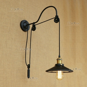 Loft Vintage industry aisle stairs bedroom living room bedside lamp iron pulley lifting light E27