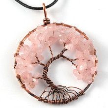 UMY New Trendy Copper Wisdom Tree of Life Pendant Natural Pink Quartz Necklace Stone Jewelry