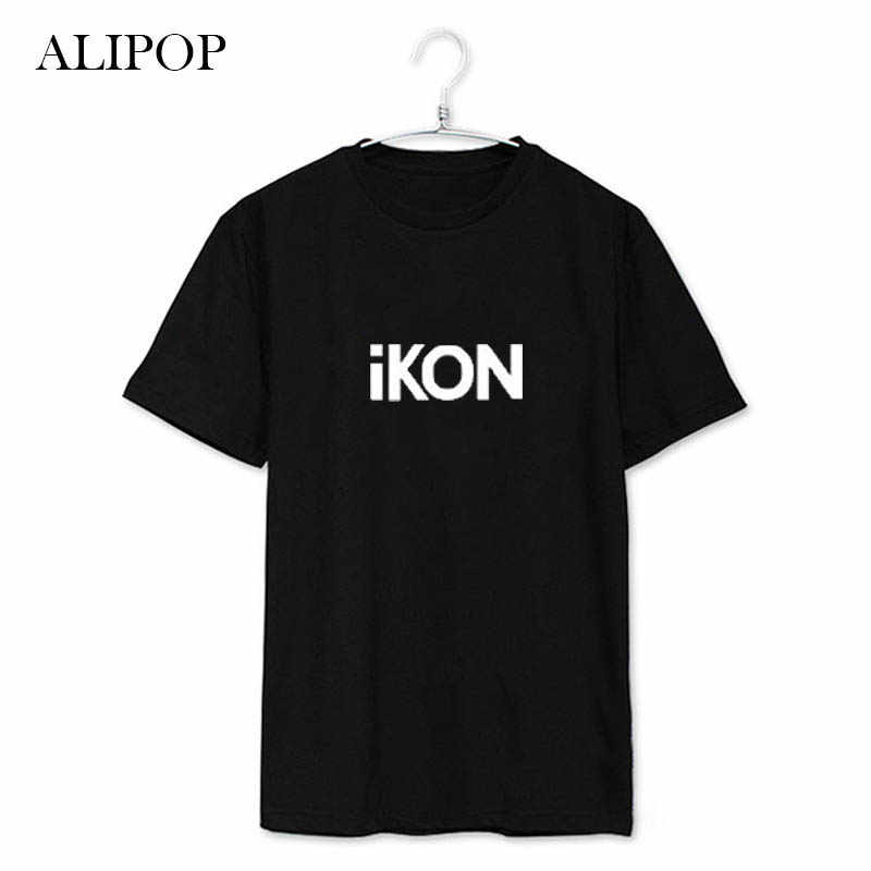 Youpop K-POP álbum Ikon camisetas K-POP 2016 Nueva moda Casual ropa algodón camiseta manga corta Tops camiseta JCF023