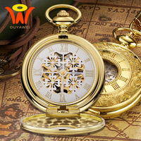 montre Vintage Mechanical Mens Pocket Fob Watch Gold Case Antique Skeleton Necklace Chain Watch Pocket Clock Pendant Watches