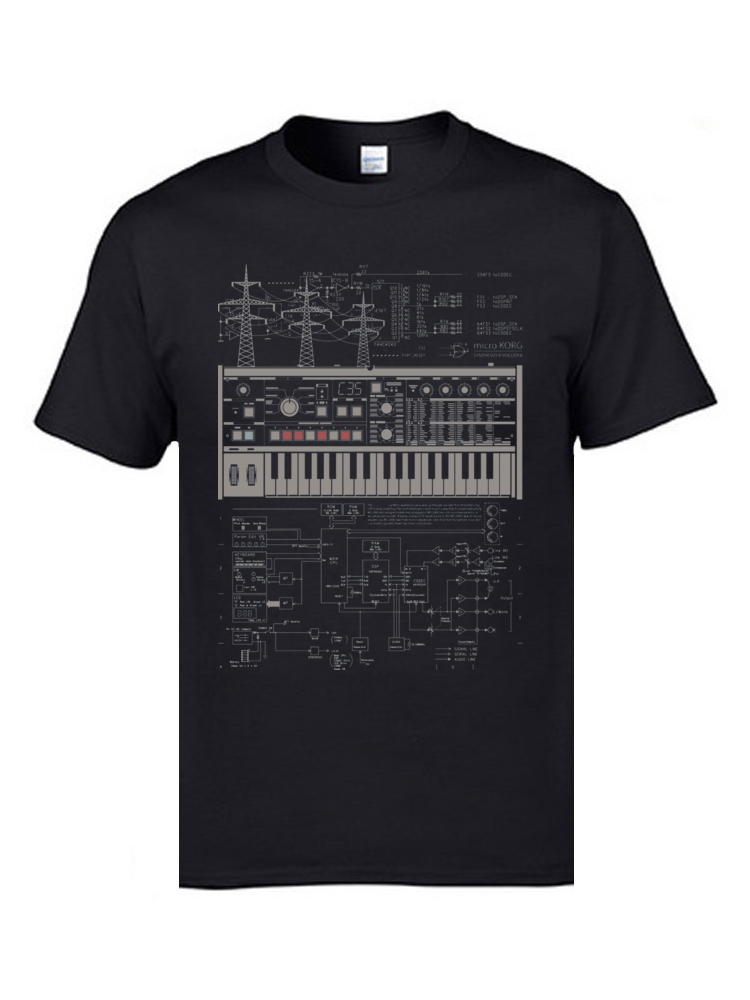 Electron Music Synthesizer Illustration T-Shirts For Men 100% Cotton Music Band Club Tops & Tees Electronic Keyboard AM T-shirts