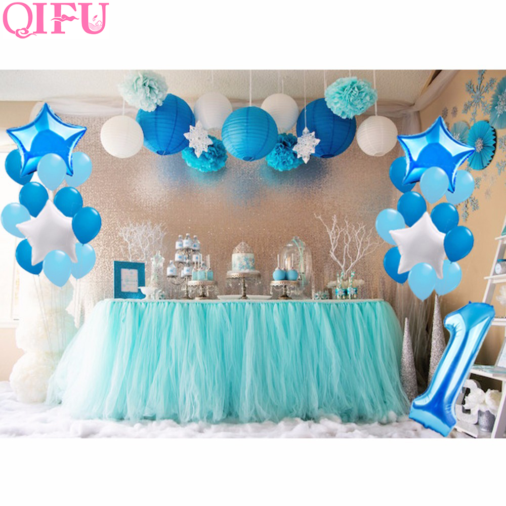 QIFU 25pcs One Year Old 1st birthday Balloons Girl Baby First Birthday Decoration Blue Pink Foil Balloon For Kids Party Supplies