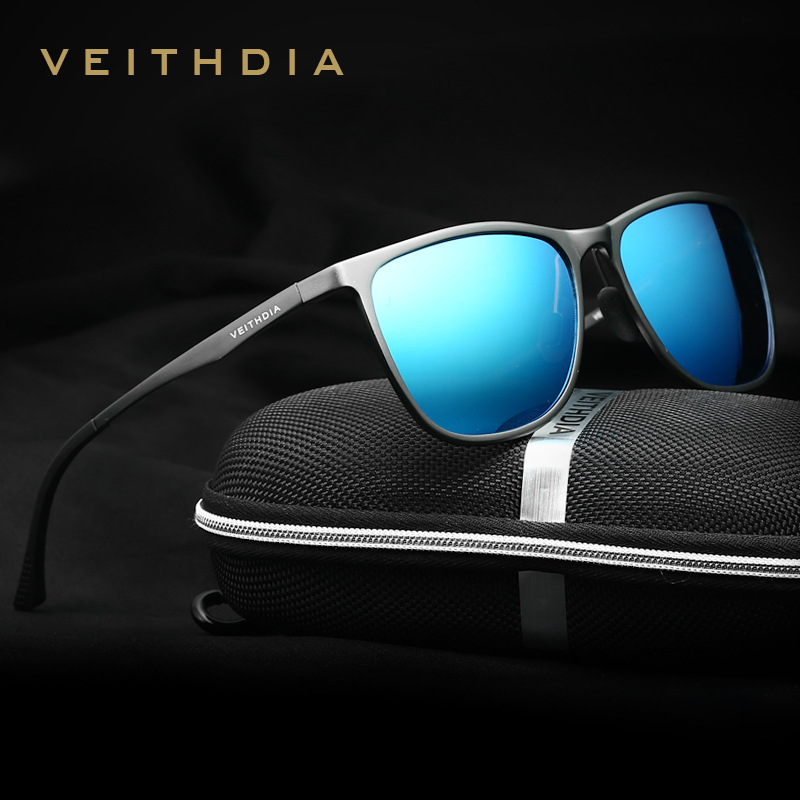 VEITHDIA Retro Aluminium Magnesium Brand Lelaki Cermin mata hitam Polarized Lens Vintage Eyewear Accessories Sun Glasses For Men 6623