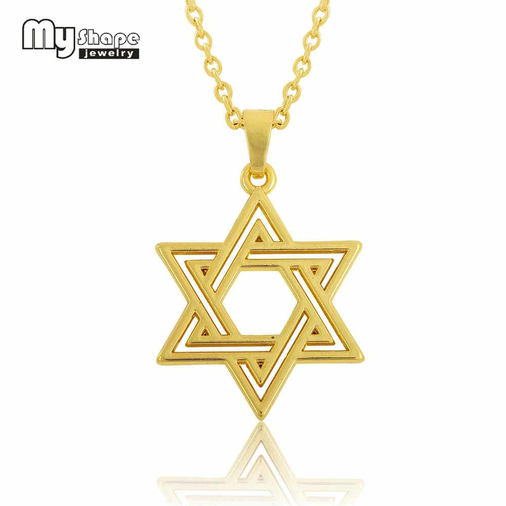 My Shape Star of David Pendant Jewelry Amulet Statement Necklace Tetragrammaton Sliver Plated Talisman Choker