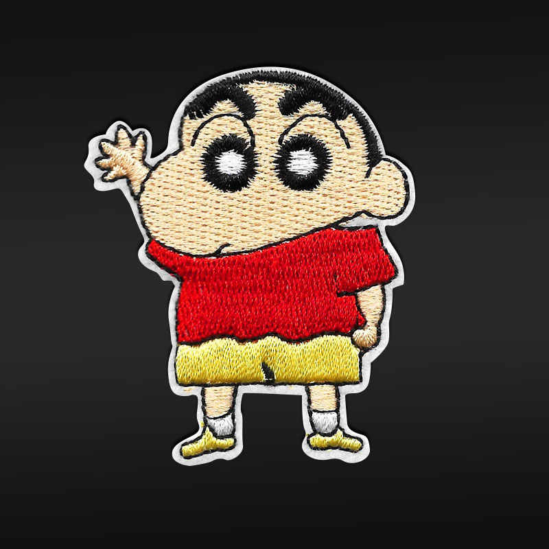 Crayon Shin-chan Embroidered Iron On Clothes Patches For Clothing Kids cartoon Badges Stickers Appliques Garment Wholesale