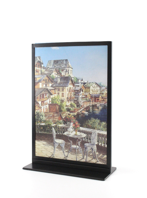 black metal a4 double sided table advertising display stand poster stand kt board sign holder - Double Sided Glass Frame