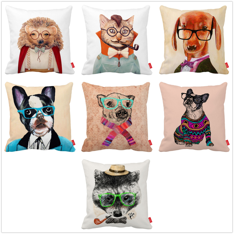 Hedgehog Bulldog Dog Bear Raccoon Gentleman Print Car Decorative Throw Pillowcase Pillow Case Cushion Cover Home Decor
