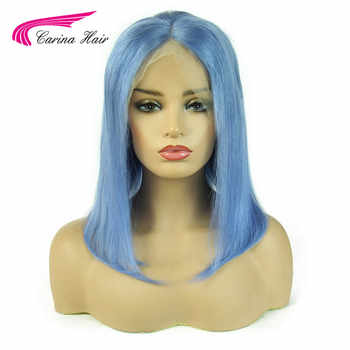 Carina Light Blue Lace Front Human Hair Wigs Remy Preplucked Colored Short Bob 13x6 Lace Front Wigs For Women - DISCOUNT ITEM  48% OFF All Category