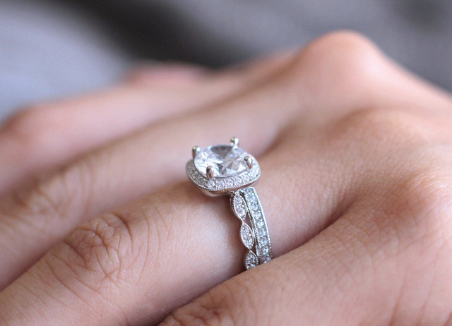 2.95CTW Oval Cut Simulated Diamond 925 Sterling Silver with Gold Wedding Engagement Ring