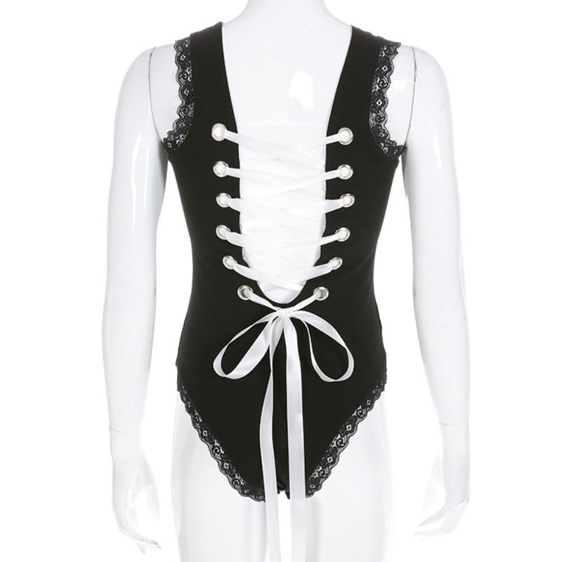 2019 Black Lace Patchwork Tank Bodysuit Women Sexy Sleeveless Body Mujer Backless Bodycon Criss Cross Bandage Bodysuits
