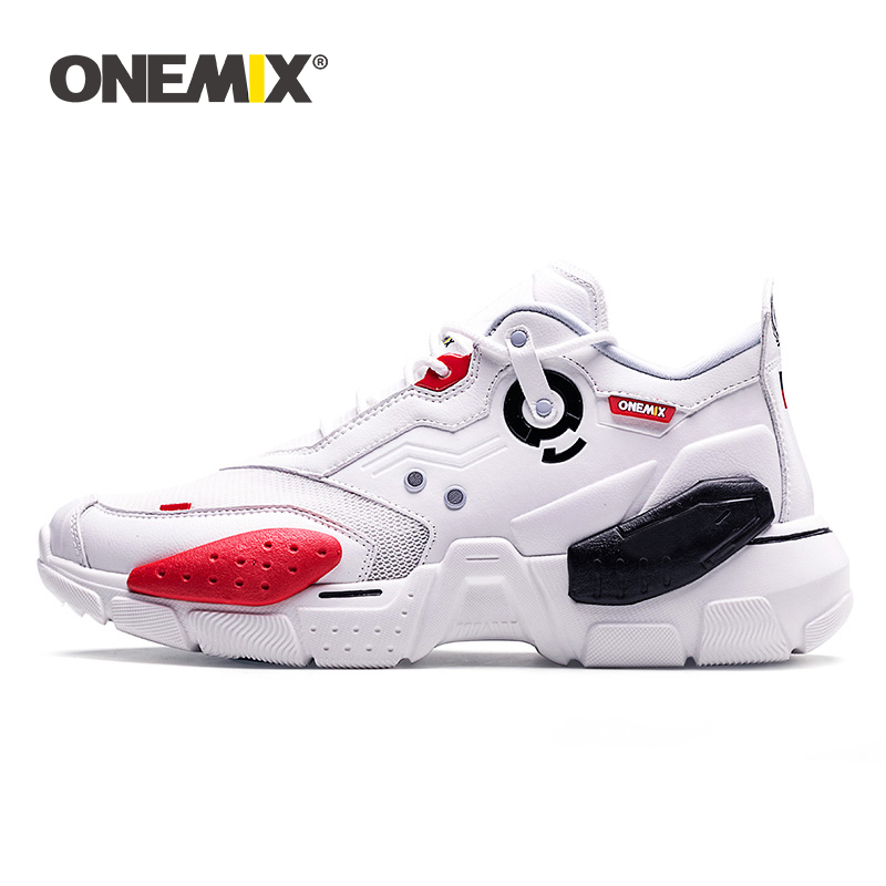 ONEMIX Unisex Sneakers Big Size 2019 New Technology Style Leather Damping Comfortable Men Sports Running Shoes Tennis Dad Shoes