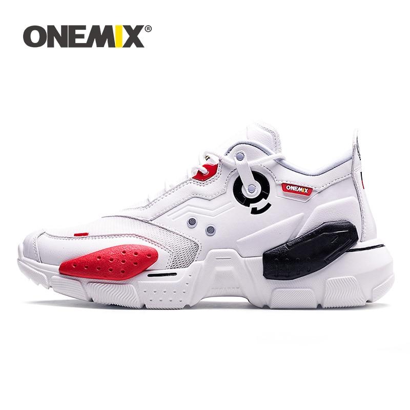 ONEMIX unisexe baskets grande taille 2019 nouvelle technologie Style cuir amortissement confortable hommes sport course chaussures Tennis papa chaussures