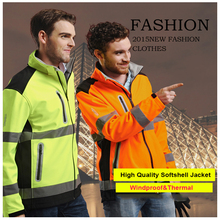 Men's Reflective safety softshell jacket with waterproof zipper high visibility workwear stock