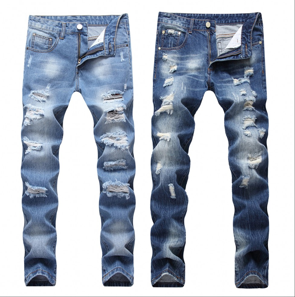 2019 New Fashion Ripped Jeans Men Patchwork Hollow Out Printed Beggar Cropped Pants Man Cowboys Demin Pants Male