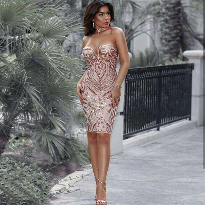 En gros 2018 Nouvelle Robe Or paillettes Bretelles De Luxe Celebrity loisirs cocktail robe (L2266)