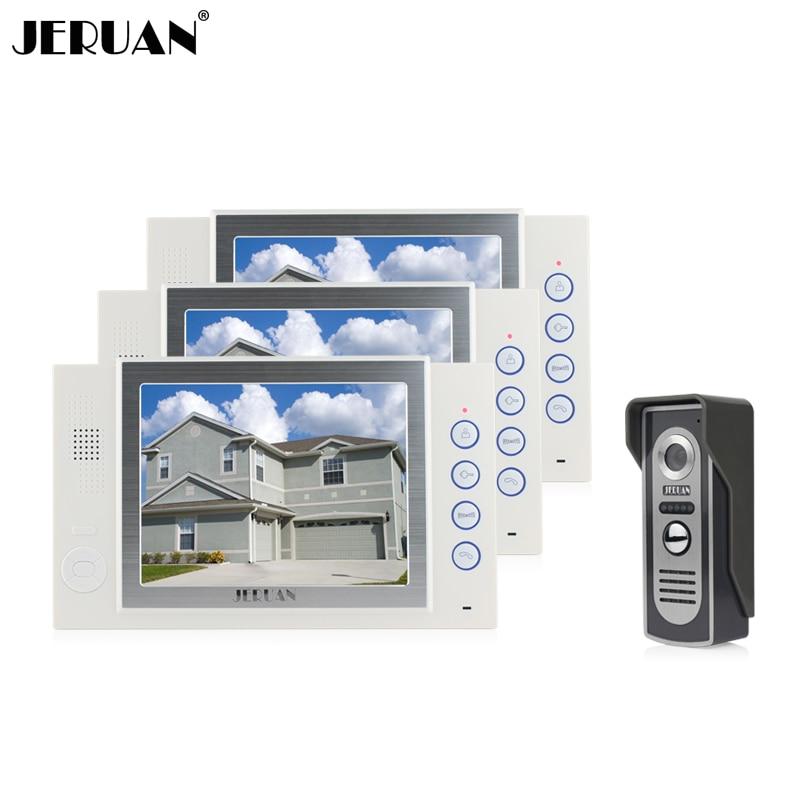 JERUAN 8 inch video door phone doorbell intercom system recording video dooorphone hands-free speaker intercom