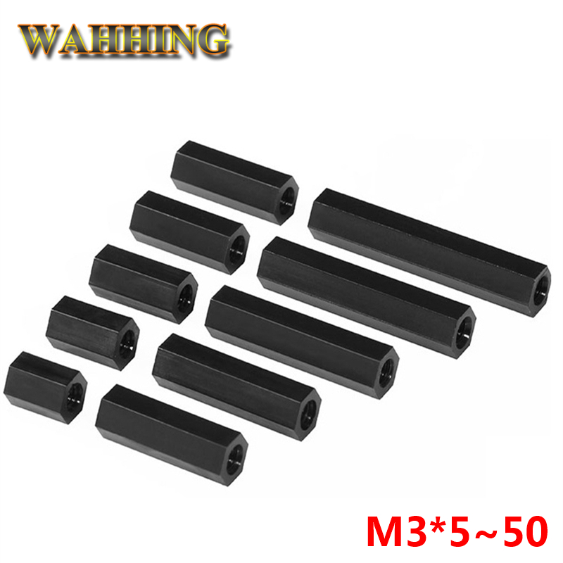 30pcs/lot M3*5~50 M3 Nylon Black Hex Nylon Standoff Spacer Column Flat Head Double Pass Nylon Plastic Spacing Screws HY1584 100pcs m3 nylon black standoff m3 5 6 8 10 12 15 18 20 25 30 35 40 6 male to female nylon spacer spacing screws