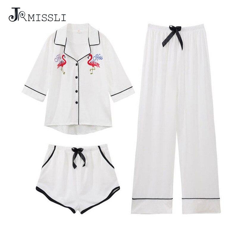JRMISSLI Brand Spring Flamingo Summer Autumn Cotton Women   Pajamas     Sets   Sleepcoat Sleep Shorts Lady Female Home Clothes