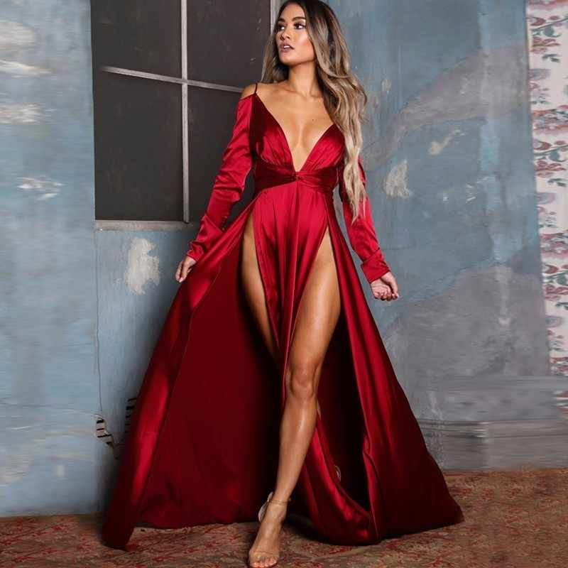 2e105eca26 POFASH Off Shoulder Red Women Maxi Dress Summer Vestido New Long Slevee  Elegant Party Dress Bodycon High Split Sexy Dresses