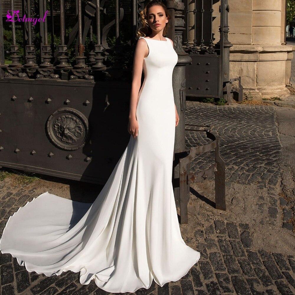 Detmgel New Arrival Scoop Neck Backless Chiffon Mermaid Wedding Dress 2019 Luxury Beaded Appliques Bohemian Bride Gown Plus Size