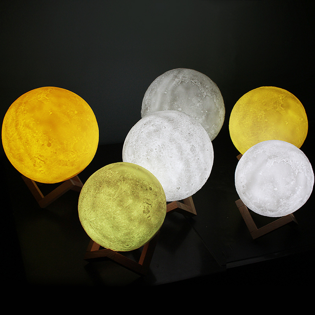 USB Rechargeable 3D Print Moon Lamp 2 Color Touch Bedroom table Night Light Decor blub Creative Gift Luminaria chargeable blub 2