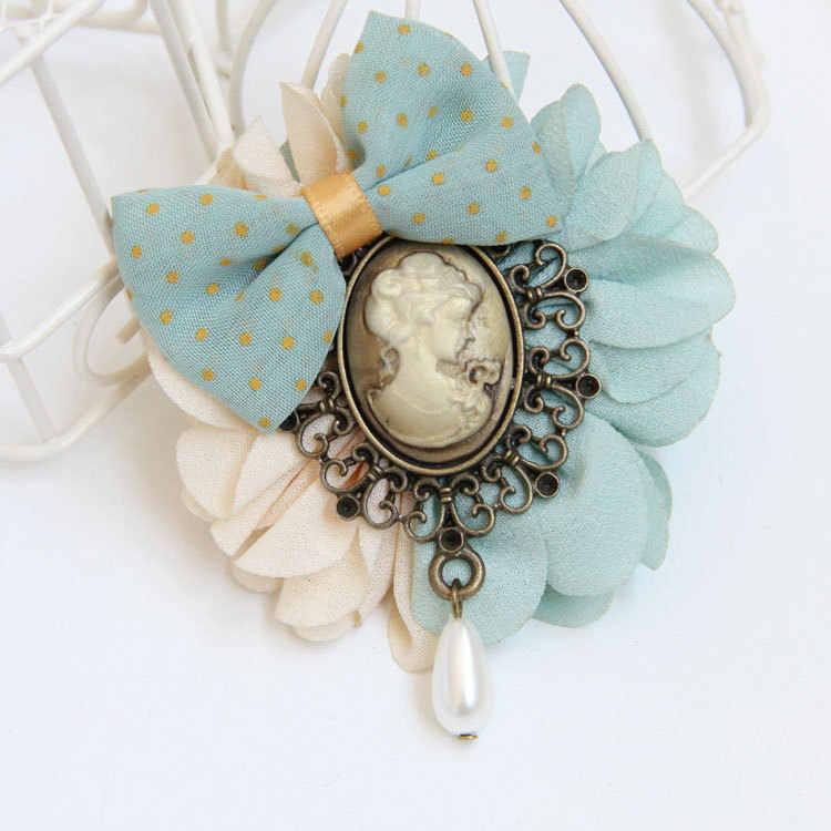 I - Remiel Vintage Beauty Head Bowknot Handmade Bow Tie เข็มกลัดเข็มกลัด Pin หญิงโบราณสำหรับผู้หญิง Corsage อุปกรณ์เสริม