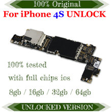 Original Free Icloud Mainboard For iPhone 4S 100% Full Unlocked Official Version Motherboard IOS Logic Board With Full Chips(China)