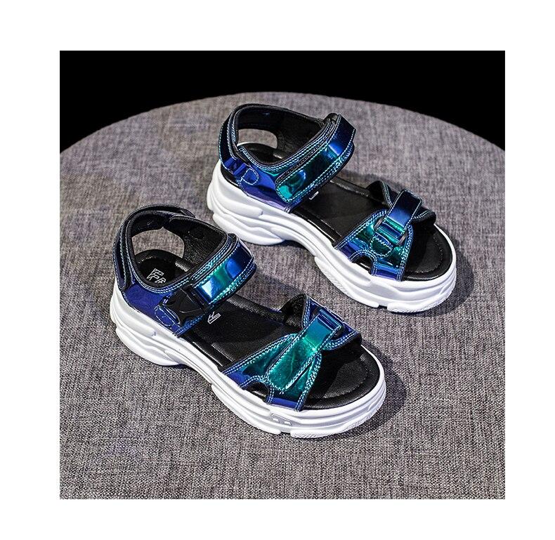 HTB1iOYvamSD3KVjSZFKq6z10VXaf Women Sandals 2019 New Summer Sandals Ladies Casual Shoes Women Bling Wedges Buckle Strap Platform Shoes 5 CM Sandalias Mujer