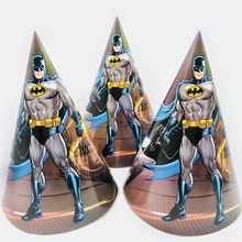 6pcs/bag Batman Paper Caps Cartoon Theme Party Supplies Favors Kids/Boys Happy Birthday Decoration Supplie