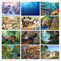 High Quality Wood 500 PCS Adult Wooden Material jigsaw Puzzle Ocean Wild Animal Wolf Cat Children Educational Toy Christmas Gift