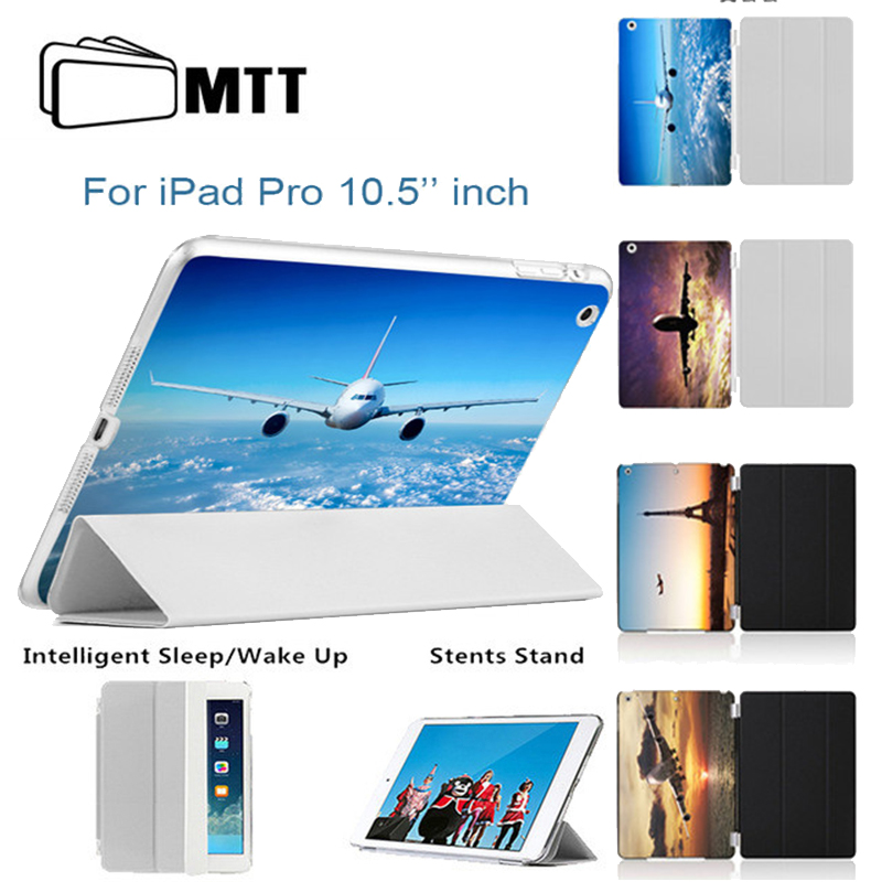 MTT Printed Airliner Back Cover PU Leather For Apple funda iPad pro 10.5 case Flip Thin Smart Cover For ipad 10.5 inches Cases surehin nice smart leather case for apple ipad pro 12 9 cover case sleeve fit 1 2g 2015 2017 year thin magnetic transparent back