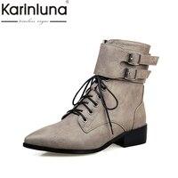 KARINLUNA 2017 גודל גדול 34-43 הצביע הבוהן אבזמי לרכוס Shoeslace מזדמנים אופנה נעלי אישה חום אפור שחור מגפי מרטין