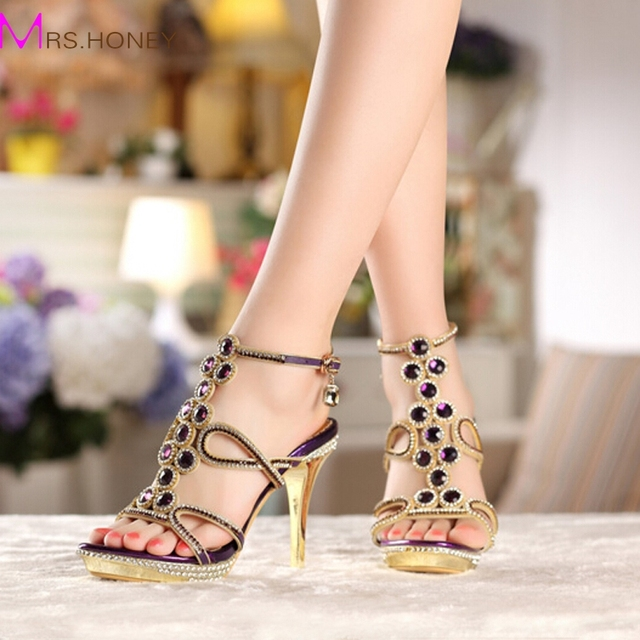 New Model Fashion Women Party Prom High Heel Sandals Rhinestone Wedding Dress Shoes Genuine Leather Female