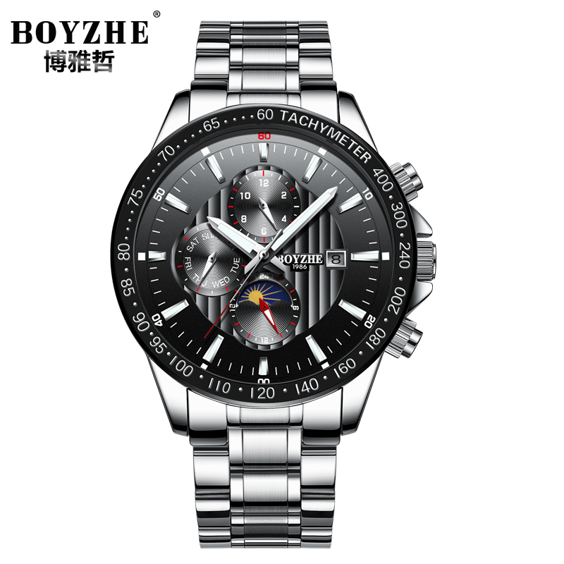 Moon phase Multi-function relogio masculino Men Automatic Watches Luxury Brand Mechanical Clock Fashion 2018 saat reloj ik brand fashion men watches silver full stainless steel automatic self wind watch men multi function clock relogio masculino