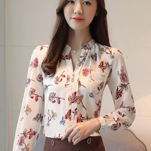 2018 Womens Tops And Blouses Autumn Fashion V-Neck Chiffon Blouses Slim Women Chiffon Blouse Office Work Wear Shirts Women Tops