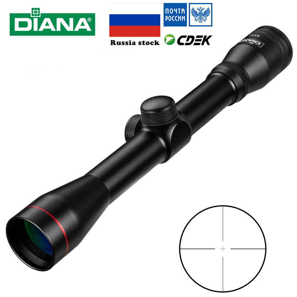 4x32 Tactical Riflescope Vidro Um Tubo Duplo Retícula de Mira Escopos de Caça Luneta Tactique Rifle Âmbito Airsoft Rifle