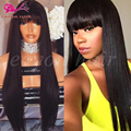 African American Synthetic Lace Front Wig With Bangs Straight Lace Front Wigs For Black Women Female Wig Glueless Front Lace Wig