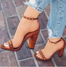 цена на Customized Women Square Heels Sandals Cut-out Ankle Strap Peep Toe Rivets Gladiator Sandals Women Chunky Heel Studded Shoes