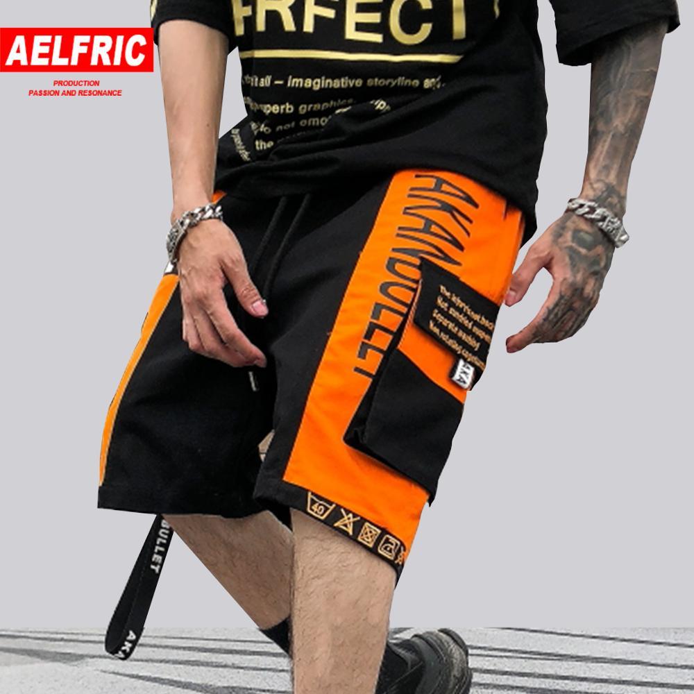 2019 Latest Design Aelfric Summer Color Block Multi-pockets Streetwear Patchwork Ribbon Men Shorts Hip Hop Sports Casual Loose Sweatpants Joggers