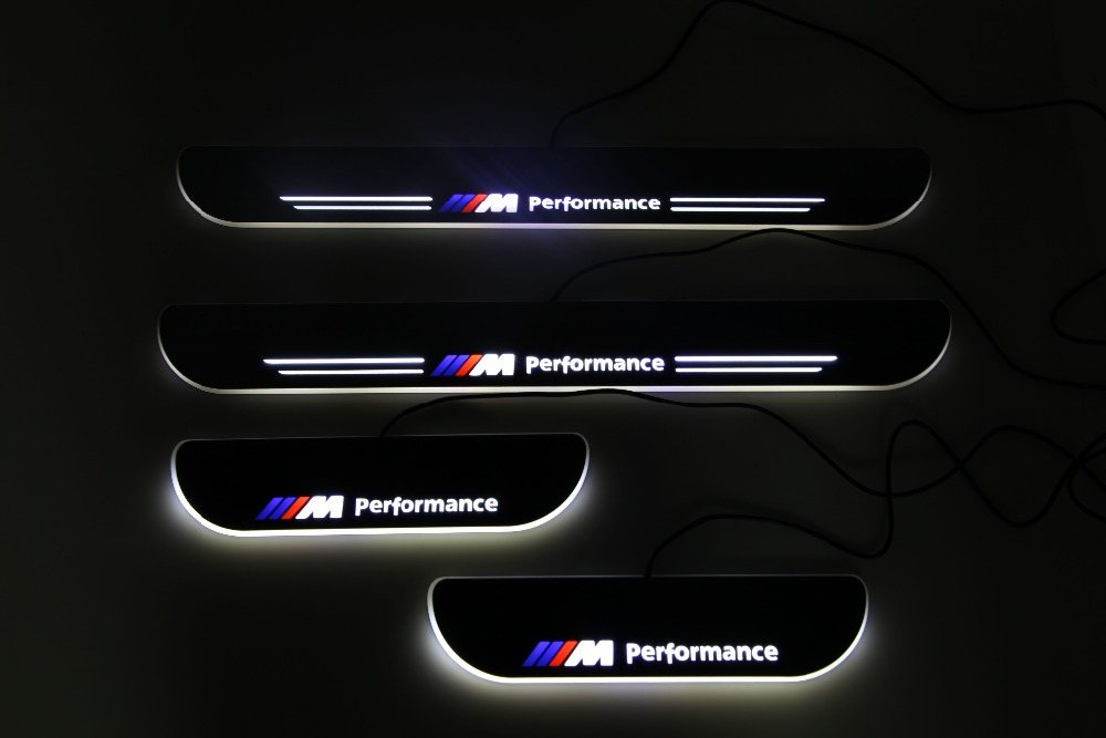 RQXR led moving door scuff for BMW e60 dynamic door sill plate flat lining overlay flow