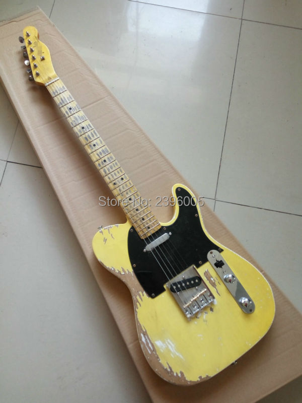 Custom Shop tl electric guitar classical tele 53 relics yellow milk color relic by hands high quality limited issue signature custom shop handmade limited edition andy summer tribute tele electric guitar tl guitar boost tuner h switch to s pickup tuner