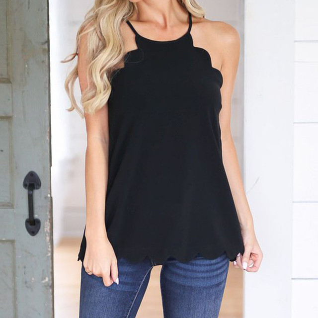 b627729e Summer Women Tops Halter Neck Strapless Sexy Backless Chiffon Stitching  Black Casual Camiseta Tank Tops Vest Camis 2018